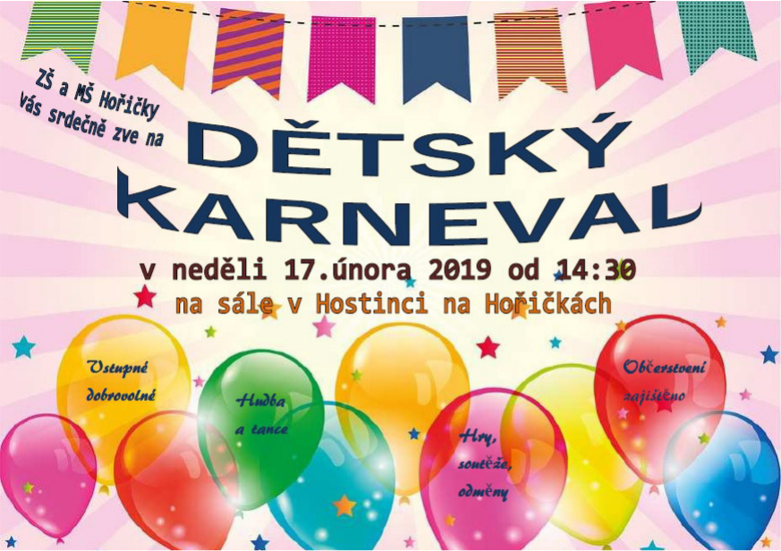 dětský karneval v Hořičkách